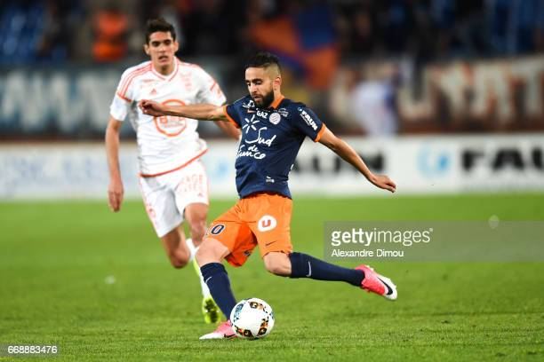 Ryad Boudebouz of Montpellier during the Ligue 1 match between Montpellier Herault SC and Fc Lorient at Stade de la Mosson on April 15 2017 in...