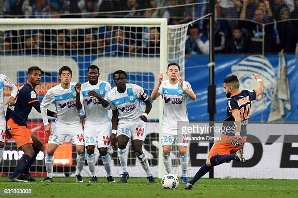 Ryad Boudebouz of Montpellier score the first Goal during the Ligue 1 match betweenn Olympique de Marseille and Montpellier Herault SC at Stade...