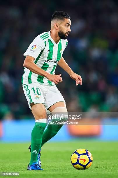 Ryad Boudebouz of Real Betis Balompie in action during the La Liga match between Real Betis and Getafe at Estadio Benito Villamarin on November 3...