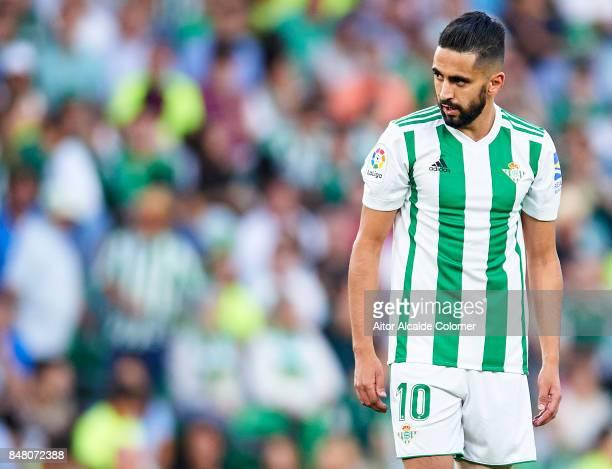 Ryad Boudebouz of Real Betis Balompie looks on during the La Liga match between Real Betis and Deportivo La Coruna at Estadio Benito Villamarin on...
