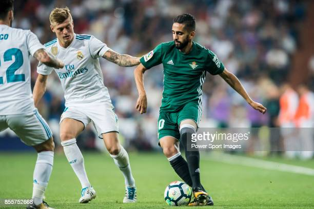 Ryad Boudebouz of Real Betis in action during the La Liga 201718 match between Real Madrid and Real Betis at Estadio Santiago Bernabeu on 20...