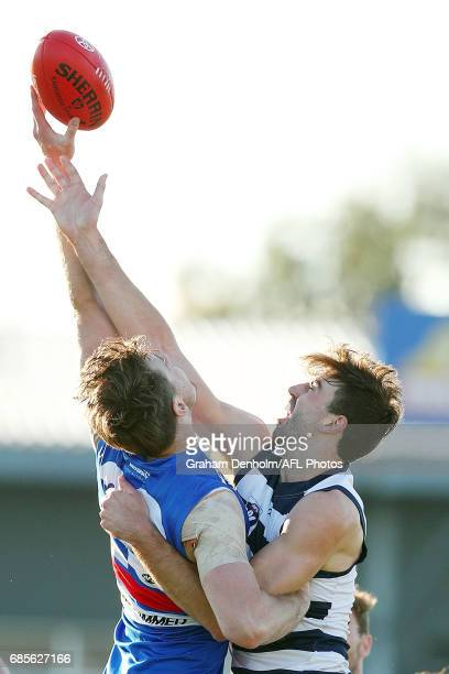 Ryan Abbott of Geelong competes in the air during the round six VFL match between the Footscray Bulldogs and the Geelong Cats at Whitten Oval on May...