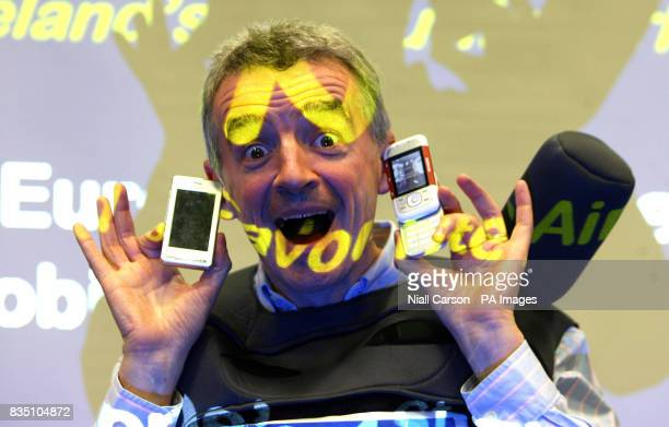 Ryan Air CEO Michael O'Leary launches the company mobile phone service in Dublin