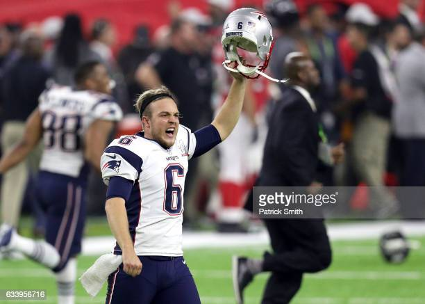 Ryan Allen of the New England Patriots celebrates after defeating the Atlanta Falcons 3428 in overtime during Super Bowl 51 at NRG Stadium on...