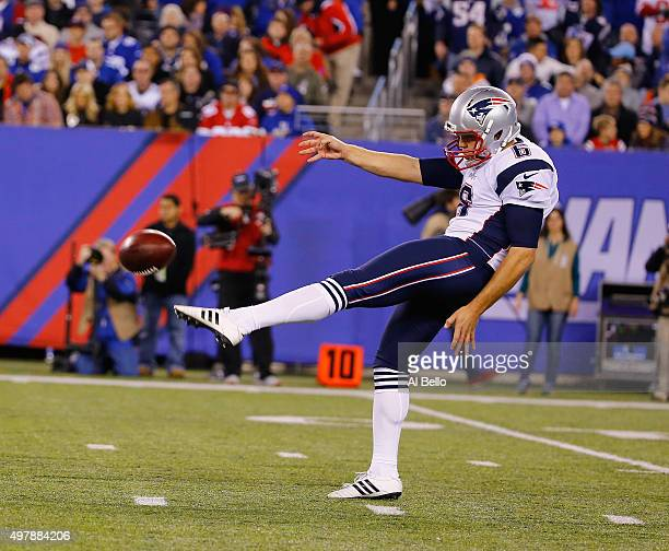 Ryan Allen of the New England Patriots in action against the New York Giants during their game at MetLife Stadium on November 15 2015 in East...