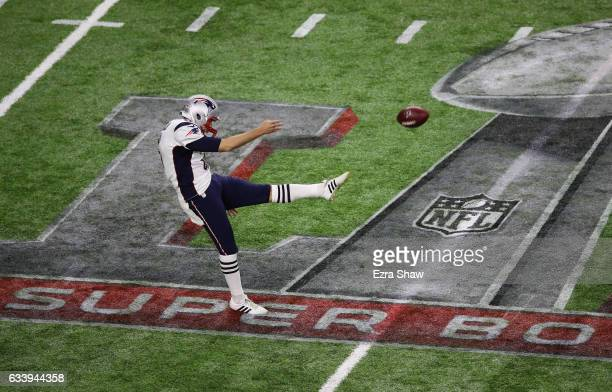 Ryan Allen of the New England Patriots punts during the first quarter of Super Bowl 51 against the Atlanta Falcons at NRG Stadium on February 5 2017...