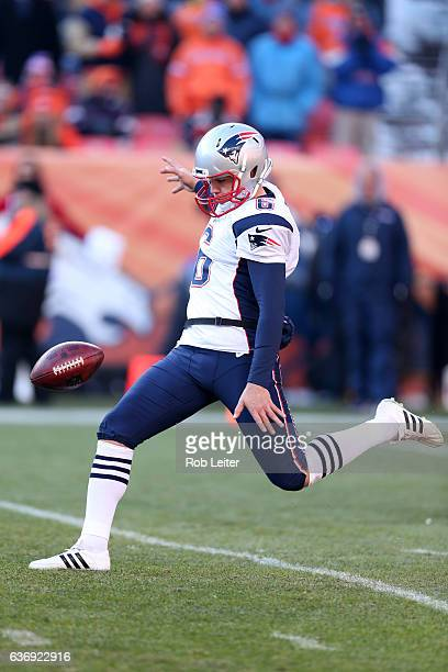 Ryan Allen of the New England Patriots punts during the game against the Denver Broncos at Sports Authority Field At Mile High on December 18 2016 in...
