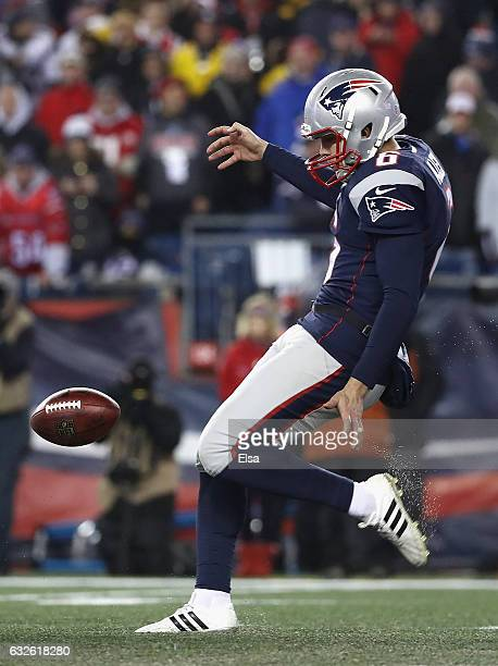 Ryan Allen of the New England Patriots punts the ball against the Pittsburgh Steelers in the AFC Championship Game at Gillette Stadium on January 22...