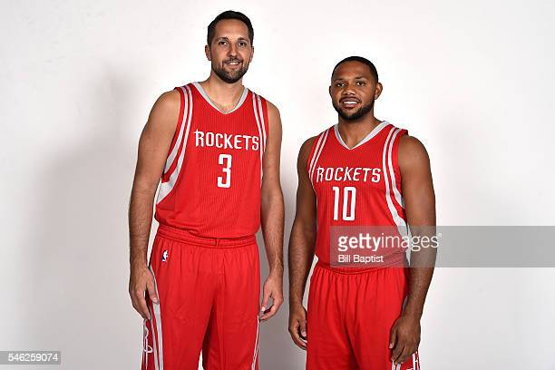 Ryan Anderson and Eric Gordon of the Houston Rockets pose for a portrait on July 9 2016 at Toyota Center in Houston Texas NOTE TO USER User expressly...