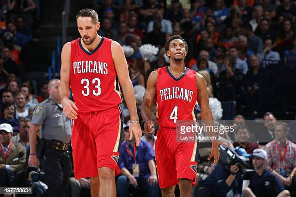 Ryan Anderson and Ish Smith of the New Orleans Pelicans during the game against the Oklahoma City Thunder on November 18 2015 at Chesapeake Energy...