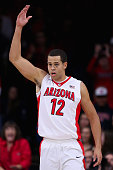 Ryan Anderson of the Arizona Wildcats reacts after scoring against the UNLV Rebels during the first half of the college basketball game at McKale...