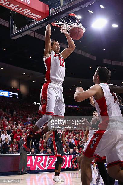 Ryan Anderson of the Arizona Wildcats slam dunks the ball against the UNLV Rebels during the first half of the college basketball game at McKale...