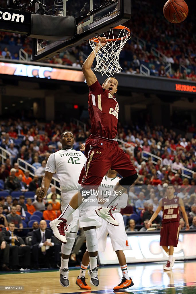 Ryan Anderson #12 of the Boston College Eagles misses a dunks against Reggie Johnson #42 of the Miami Hurricanes during the quarterfinals of the ACC Men's Basketball Tournament at the Greensboro Coliseum on March 15, 2013 in Greensboro, North Carolina.