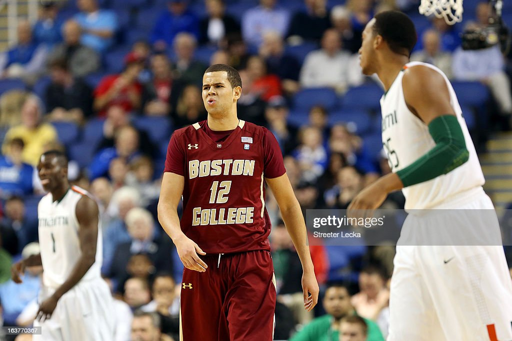 Ryan Anderson #12 of the Boston College Eagles reacts against the Miami Hurricanes looks on during the quarterfinals of the ACC Men's Basketball Tournament at the Greensboro Coliseum on March 15, 2013 in Greensboro, North Carolina.