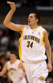 Ryan Anderson of the California Golden Bears celebrates a basket in the first half over the Oregon State Beavers during the first round of the...