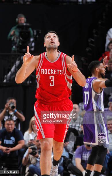 Ryan Anderson of the Houston Rockets celebrates against the Sacramento Kings on April 9 2017 at Golden 1 Center in Sacramento California NOTE TO USER...