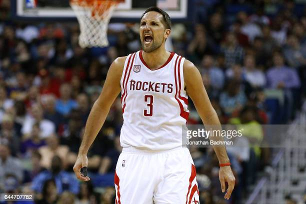 Ryan Anderson of the Houston Rockets celebrates during the second half of a game against the New Orleans Pelicans at the Smoothie King Center on...
