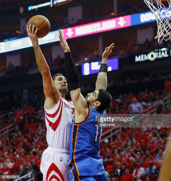 Ryan Anderson of the Houston Rockets drives on Enes Kanter of the Oklahoma City Thunder during Game Five of the Western Conference Quarterfinals game...