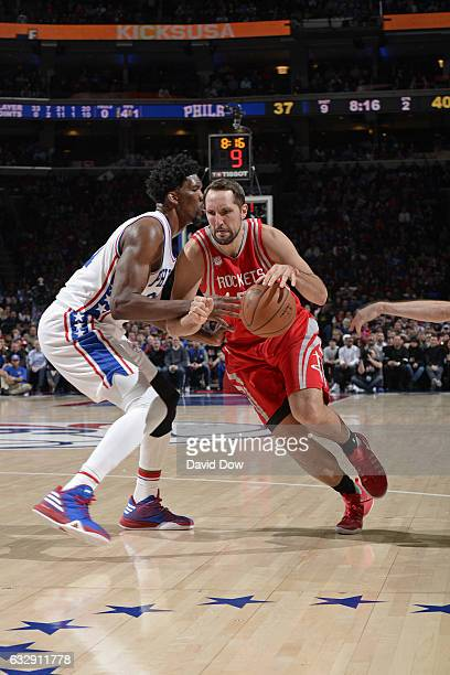 Ryan Anderson of the Houston Rockets drives to the basket against the Philadelphia 76ers at Wells Fargo Center on January 27 2017 in Philadelphia...