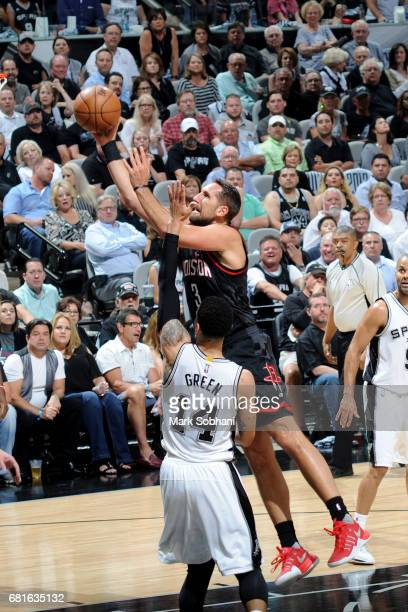 Ryan Anderson of the Houston Rockets goes to the basket against the San Antonio Spurs during Game Two of the Eastern Conference Semifinals of the...