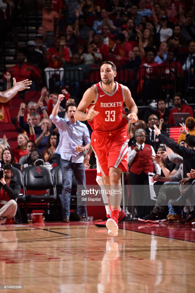 Ryan Anderson #33 of the Houston Rockets reacts against the Toronto Raptors on November 14, 2017 at the Toyota Center in Houston, Texas.