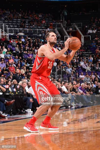 Ryan Anderson of the Houston Rockets shoots the ball against the Phoenix Suns on November 16 2017 at Talking Stick Resort Arena in Phoenix Arizona...
