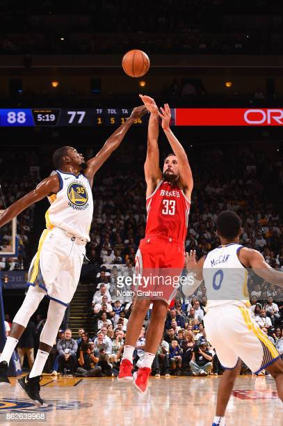 Ryan Anderson of the Houston Rockets shoots the ball against the Golden State Warriors on October 17 2017 at ORACLE Arena in Oakland California NOTE...