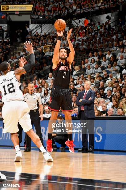 Ryan Anderson of the Houston Rockets shoots the ball against the San Antonio Spurs during Game One of the Western Conference Semifinals of the 2017...
