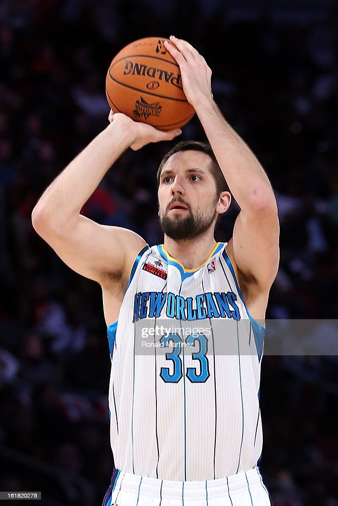 Ryan Anderson of the New Orleans Hornets competes during the Foot Locker Three-Point Contest part of 2013 NBA All-Star Weekend at the Toyota Center on February 16, 2013 in Houston, Texas.