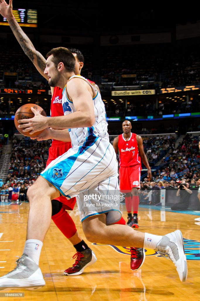 Ryan Anderson #33 of the New Orleans Hornets drives against the Los Angeles Clippers on March 27, 2013 at the New Orleans Arena in New Orleans, Louisiana.