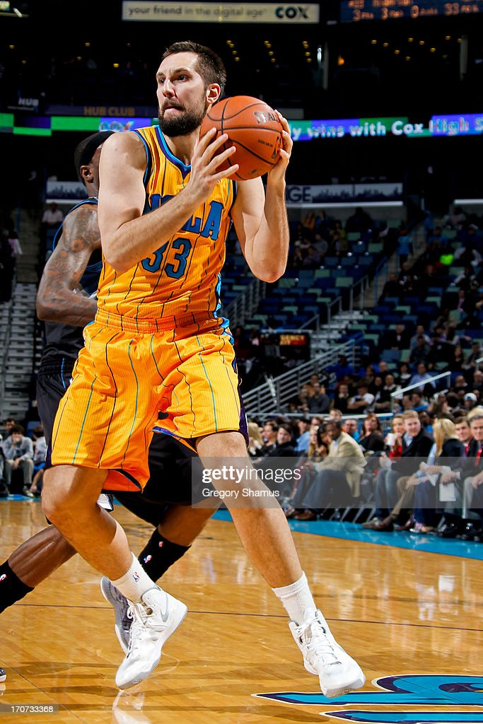 Ryan Anderson #33 of the New Orleans Hornets drives against the Minnesota Timberwolves on December 14, 2012 at the New Orleans Arena in New Orleans, Louisiana.