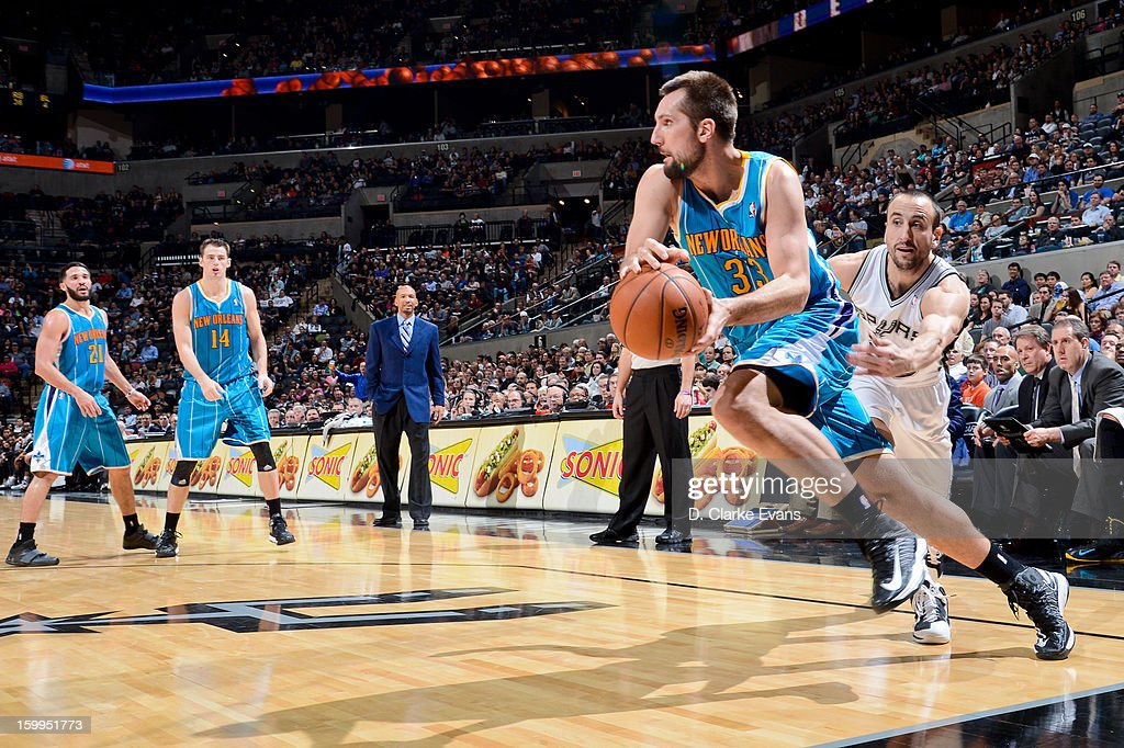 Ryan Anderson #33 of the New Orleans Hornets drives along the baseline against Manu Ginobili #20 of the San Antonio Spurs on January 23, 2013 at the AT&T Center in San Antonio, Texas.