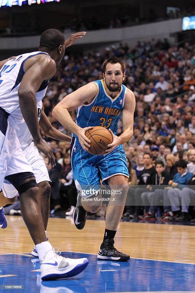 Ryan Anderson #33 of the New Orleans Hornets drives to the basket against the Dallas Mavericks on January 05, 2012 at the American Airlines Center in Dallas, Texas.
