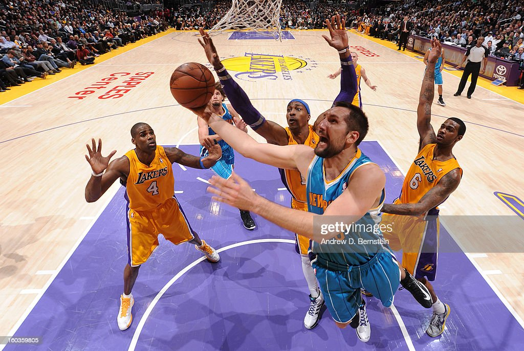 Ryan Anderson #33 of the New Orleans Hornets goes up for a shot against the Los Angeles Lakers at Staples Center on January 29, 2013 in Los Angeles, California.
