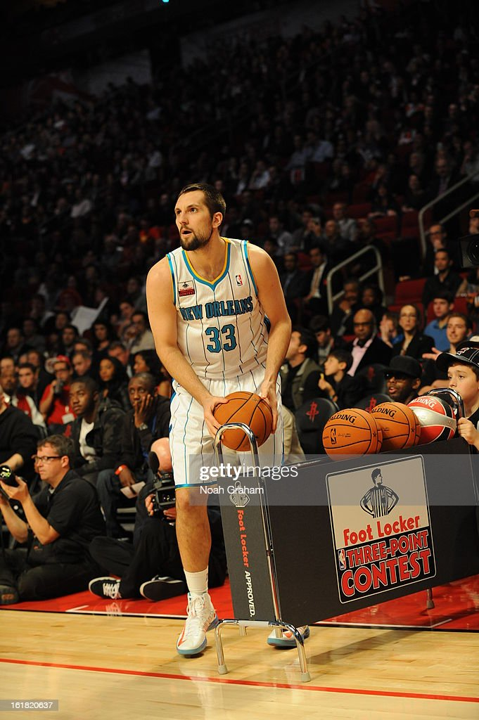 Ryan Anderson #33 of the New Orleans Hornets participates during 2013 Foot Locker Three-Point Contest on State Farm All-Star Saturday Night as part of 2013 NBA All-Star Weekend on February 16, 2013 at Toyota Center in Houston, Texas.