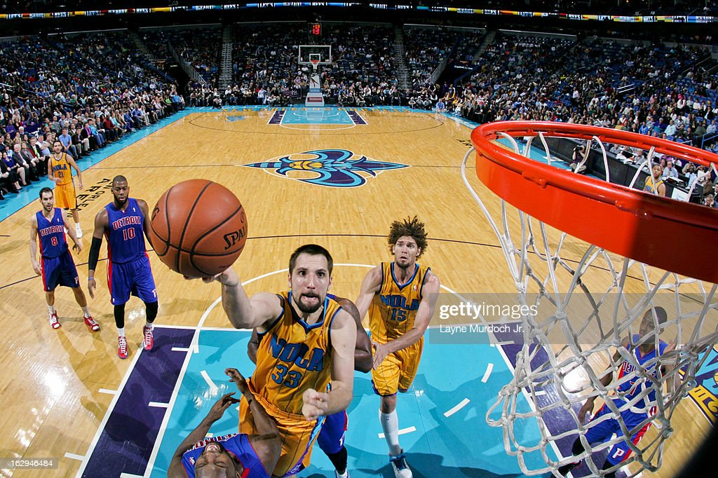 Ryan Anderson #33 of the New Orleans Hornets shoots a layup against the Detroit Pistons on March 1, 2013 at the New Orleans Arena in New Orleans, Louisiana.