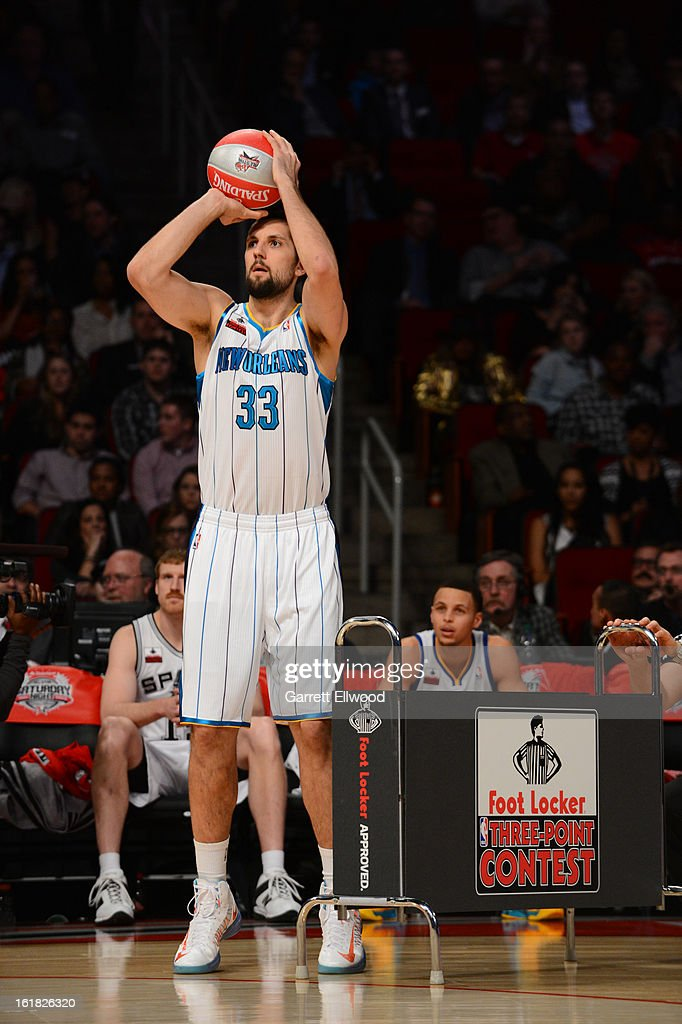 Ryan Anderson #33 of the New Orleans Hornets shoots during the Foot Locker Three-Point Contest on State Farm All-Star Saturday Night during NBA All Star Weekend on February 16, 2013 at the Toyota Center in Houston, Texas.