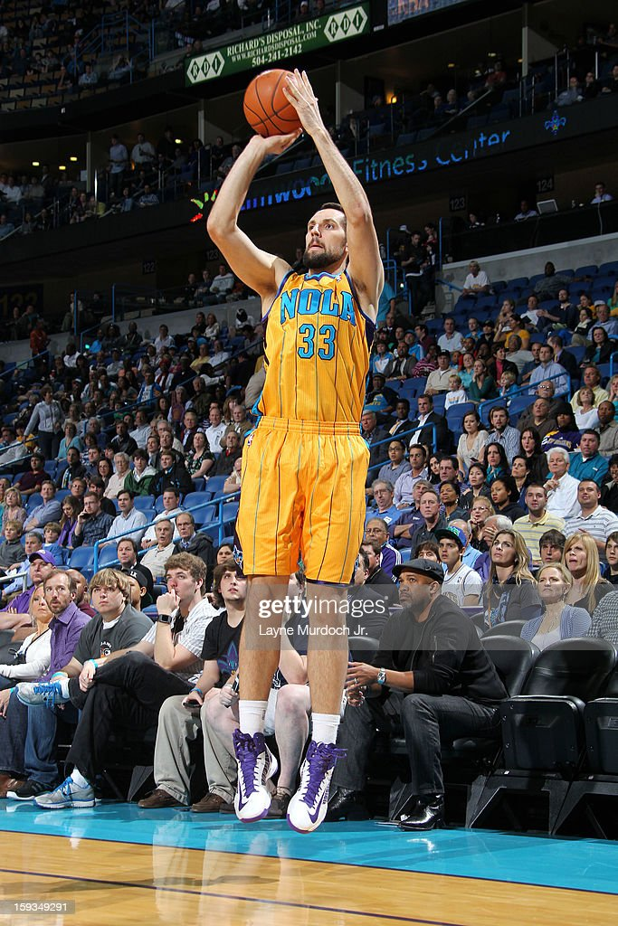Ryan Anderson #33 of the New Orleans Hornets takes a shot against the Minnesota Timberwolves on January 11, 2013 at the New Orleans Arena in New Orleans, Louisiana.