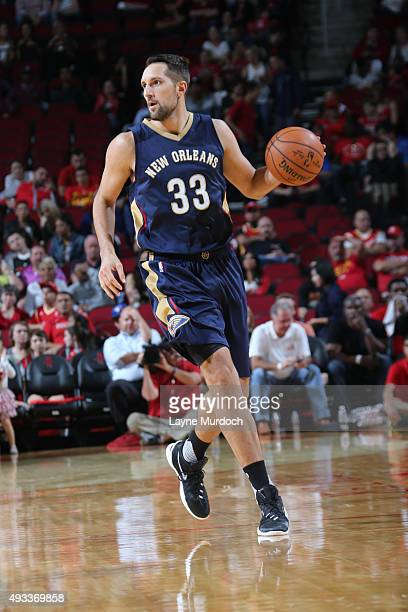Ryan Anderson of the New Orleans Pelicans brings the ball up court against the Houston Rockets on October 19 2015 at the Toyota Center in Houston...