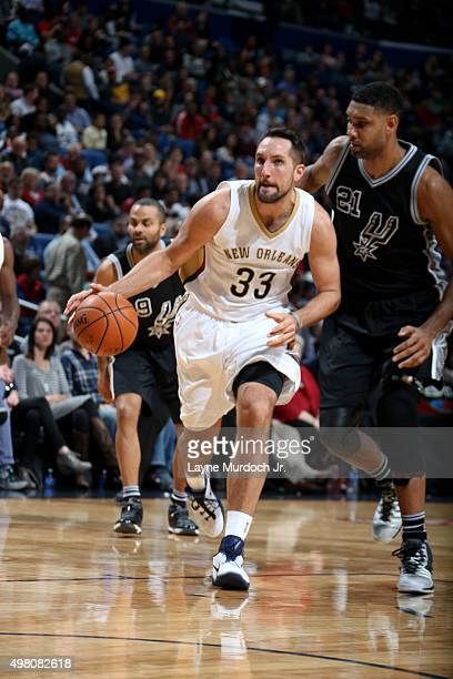 Ryan Anderson of the New Orleans Pelicans brings the ball up court against the San Antonio Spurs on November 20 2015 at the Smoothie King Center in...