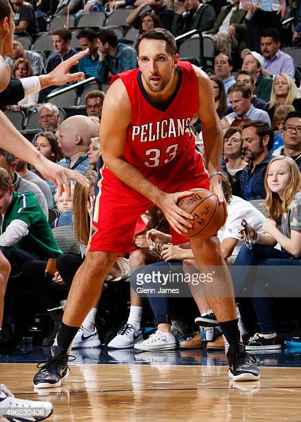 Ryan Anderson of the New Orleans Pelicans dribbles the ball against the Dallas Mavericks on November 7 2015 at the American Airlines Center in Dallas...