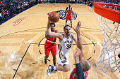 Ryan Anderson of the New Orleans Pelicans goes for the layup against the Portland Trail Blazers during the game on March 18 2016 at Smoothie King...