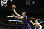Ryan Anderson of the New Orleans Pelicans goes for the layup during the game against the Minnesota Timberwolves on February 8 2016 at Target Center...