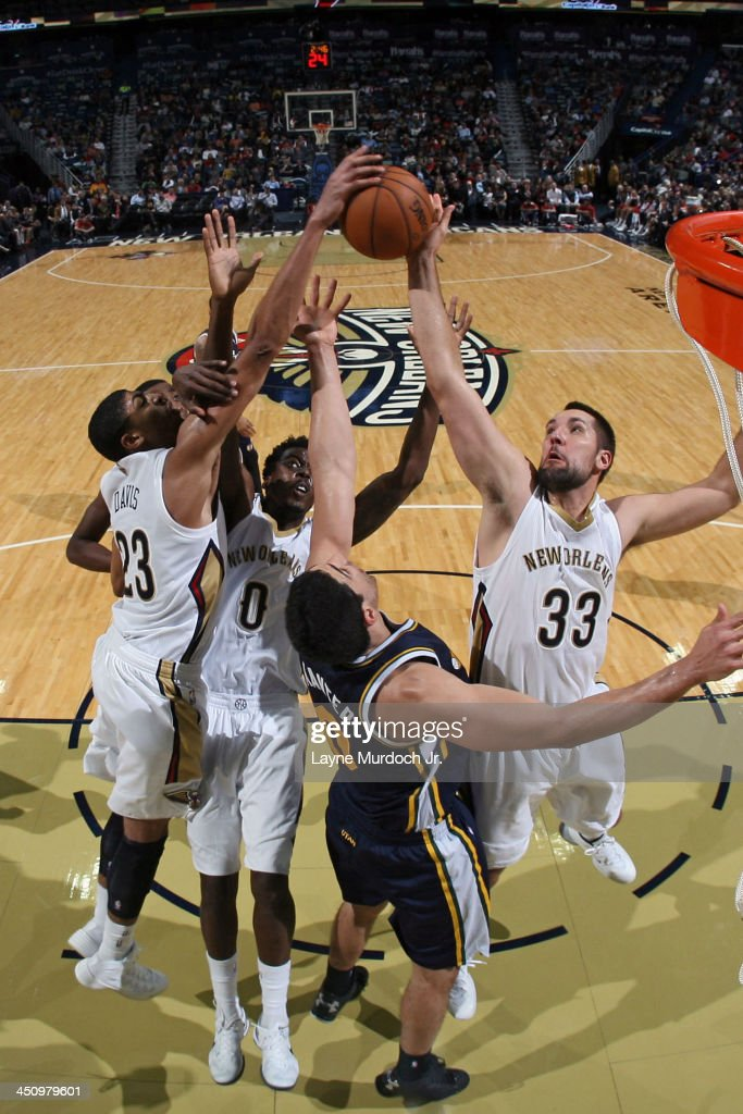 Ryan Anderson #33 of the New Orleans Pelicans grabs the rebound against the Utah Jazz on November 20, 2013 at the New Orleans Arena in New Orleans, Louisiana.