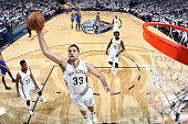 Ryan Anderson of the New Orleans Pelicans grabs the rebound against the Golden State Warriors in Game Four of the Western Conference Quarterfinals...