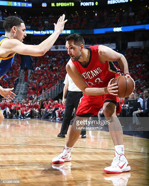 Ryan Anderson of the New Orleans Pelicans handles the ball against the Golden State Warriors during Game Three of the Western Conference...
