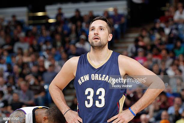 Ryan Anderson of the New Orleans Pelicans looks on during the game against the Sacramento Kings on April 3 2015 at Sleep Train Arena in Sacramento...