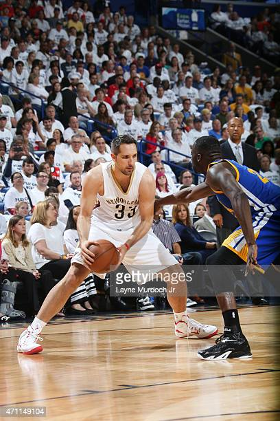 Ryan Anderson of the New Orleans Pelicans looks to move the ball against the Golden State Warriors during Game Four of the Western Conference...