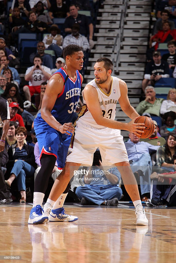 Ryan Anderson #33 of the New Orleans Pelicans looks to pass the ball against the Philadelphia 76ers on November 16, 2013 at the New Orleans Arena in New Orleans, Louisiana.