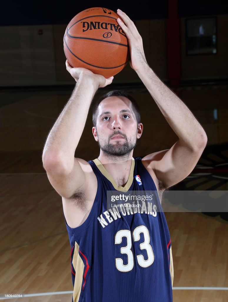 Ryan Anderson #33 of the New Orleans Pelicans participates in a photo shoot introducing the team's new uniform on September 17, 2013 at the New Orleans Pelicans practice facility in Metairie, Louisiana.
